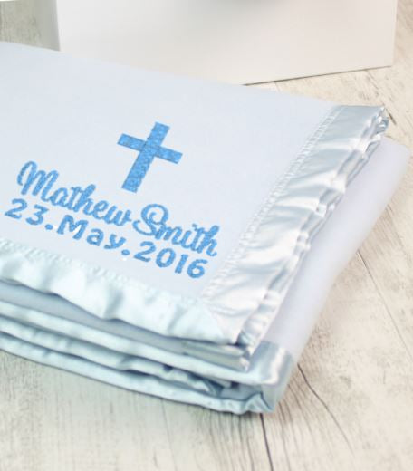 Personalised Blanket Blue - Cross & Date - Teddie & Lane