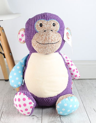 Harlequin Monkey Purple Cubbie - Teddie & Lane
