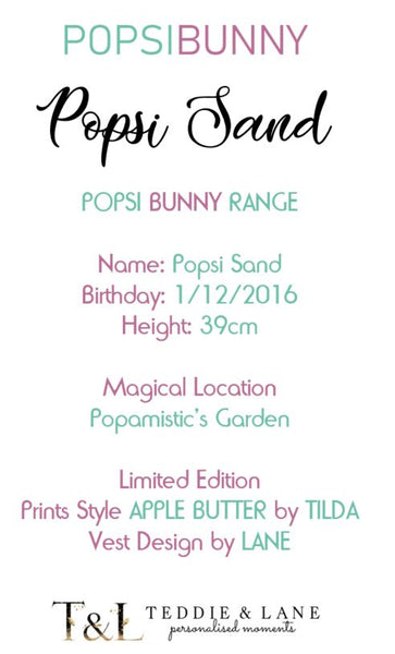 Popsi Sand Bunny - LIMITED EDITION - Teddie & Lane