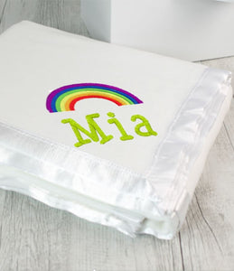 Personalised Blanket White & Rainbow - Teddie & Lane