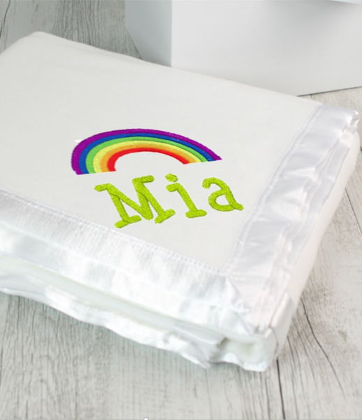 Personalised Blanket White & Rainbow