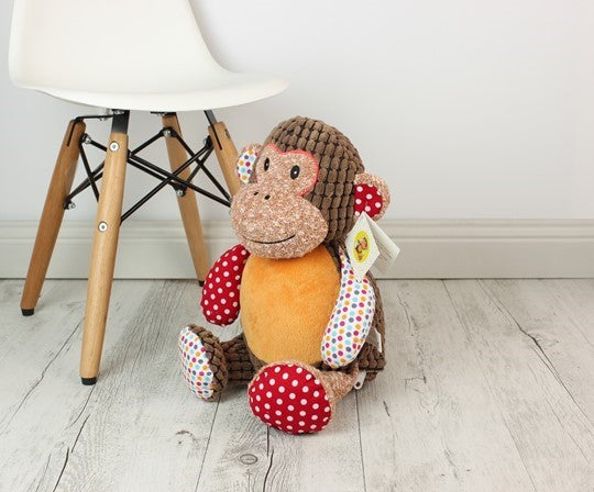 Personalised Teddy Bear - Huggles Harlequin The Monkey Cubbie - 40cm