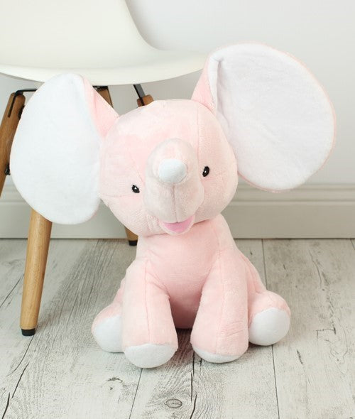 Personalised Teddy Bear - Dumble Elephant Baby Pink Cubbie - 30cm