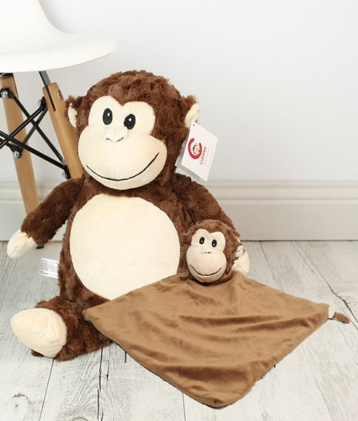 Personalised Teddy Bear - Huggles the Monkey Cubbiie + Snuggle