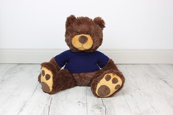 Personalised Teddy - Mojo Brown w/KNIT Jumper - 45cm