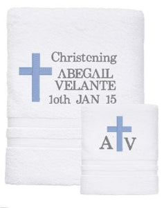 Personalised Towel - CHRISTENING SET - Teddie & Lane