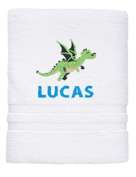 Personalised Towel - Dragon Bath White