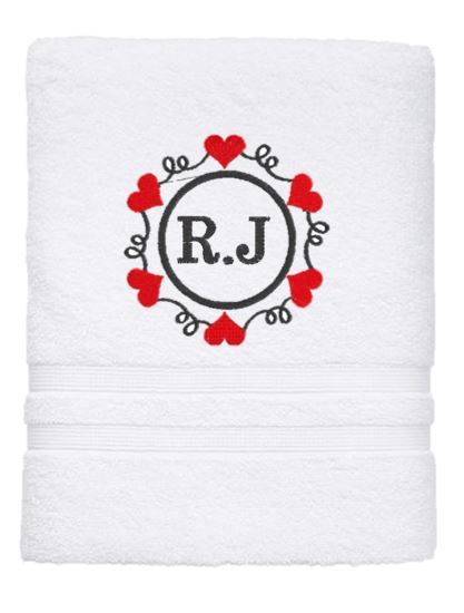 Personalised Towel - Heart Initials Bath Sheet White