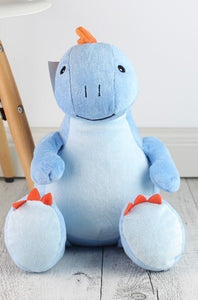 Personalised Teddy Bear - Blue Dinosaur Cubbie