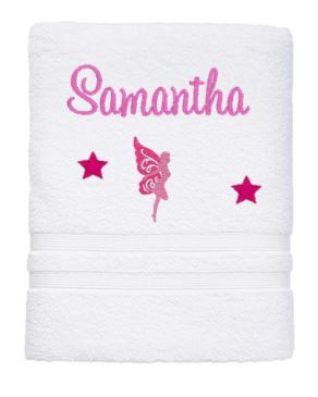 Personalised Towel - Fairy Bath Towel White - Teddie & Lane