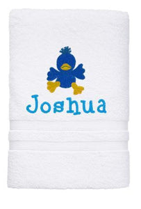 Personalised Towel - Duck Bath White