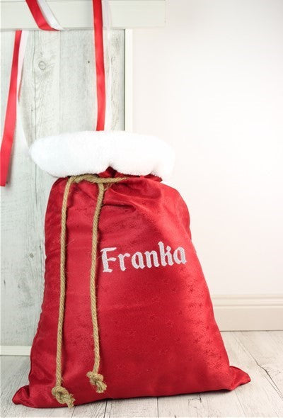 Red Santa Sack - VINYL Name - Teddie & Lane