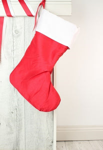 Christmas Stocking Red - VINYL Name (50cm x 25cm) - Teddie & Lane