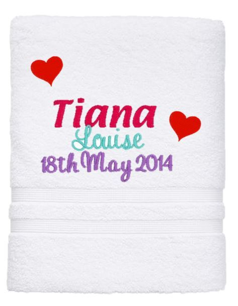 Personalised Towel - Birth Details Bath Towel