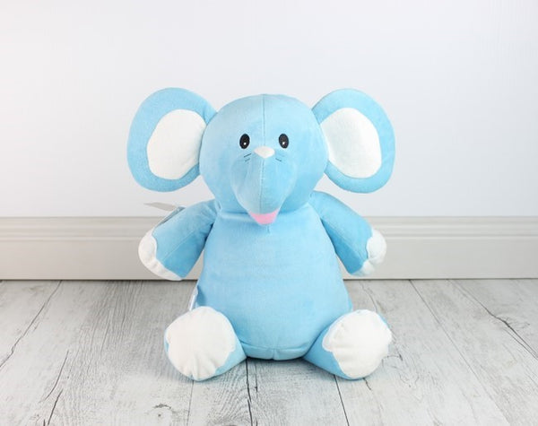 Personalised Teddy Bear -Blue Elephant Cubbie - Teddie & Lane