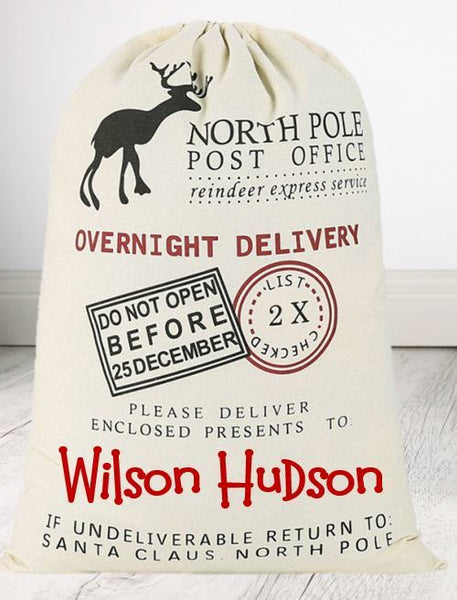 North Pole Sack - VINYL Name (50 x 70cm) - Teddie & Lane