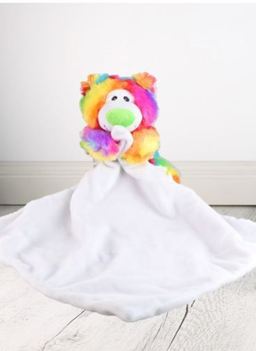 Rainbow Bear Green Nose Suggle Blankie - 40cm x 40cm - Teddie & Lane