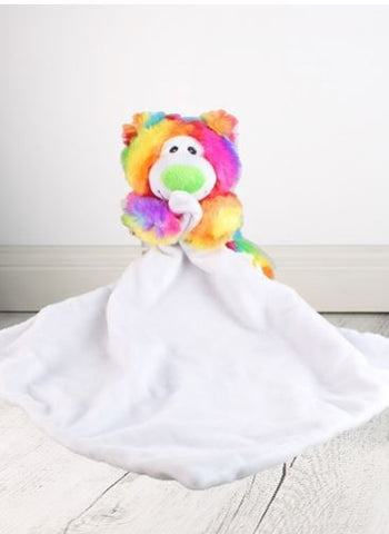 Rainbow Bear Green Nose Suggle Blankie - 40cm x 40cm