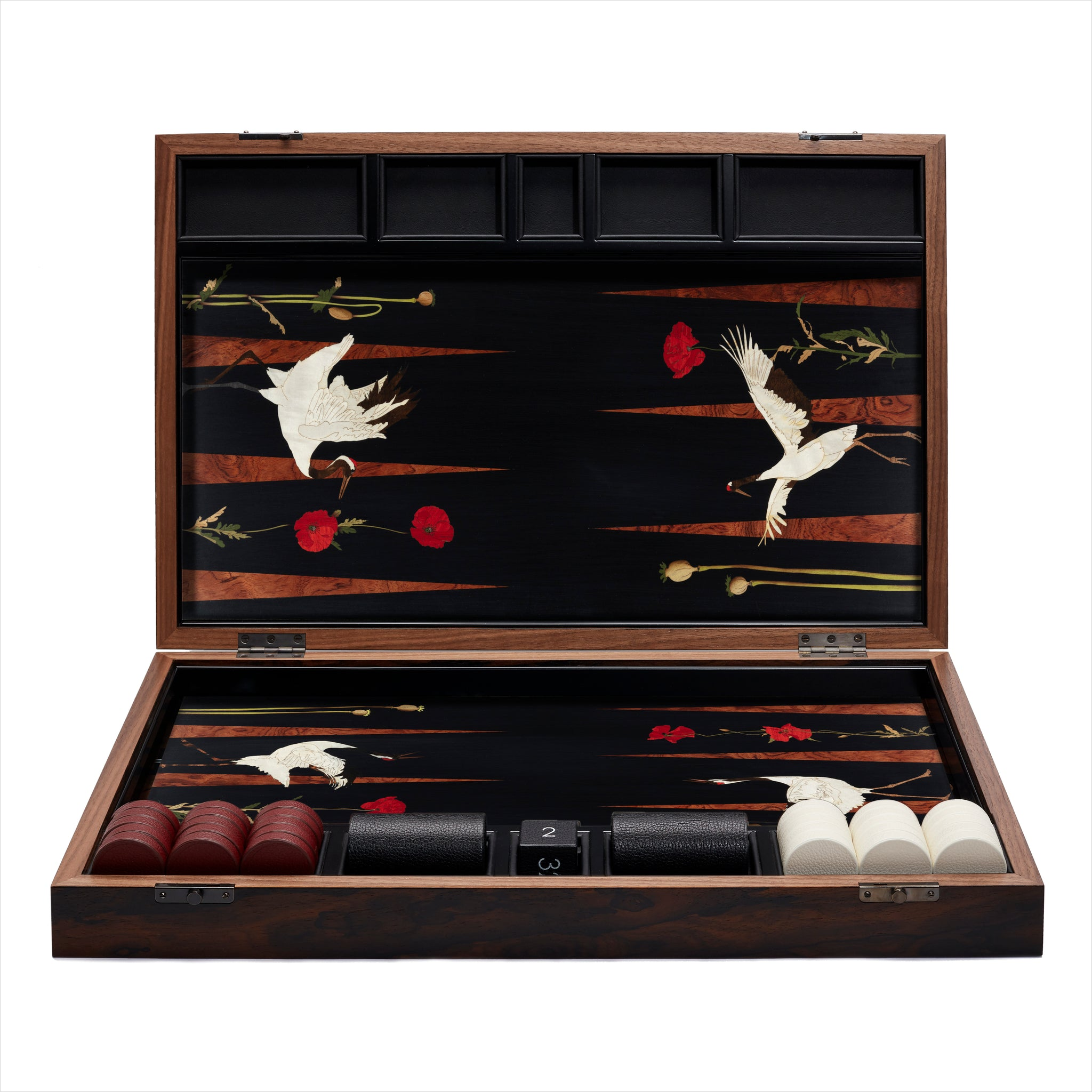 Poppies & Crane Backgammon Set