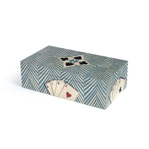 Geometric Turquoise Marquetry Double Cards Box