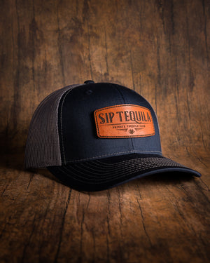 Sip Tequila Leather Patch Snapback Hat