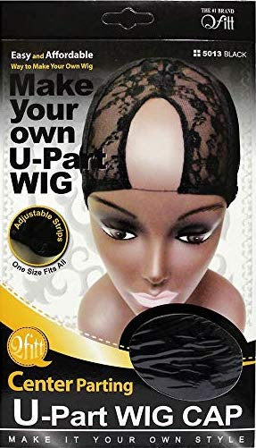 Qfitt - Center Parting U-Part Wig Cap - 5013 Black