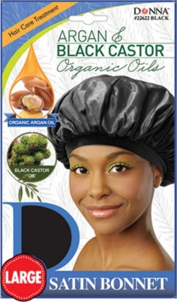 Donna - Argan & Black Castor Satin Bonnet Large - #22622 Black