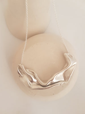 sculptural necklace in sterling silver, large statement necklace