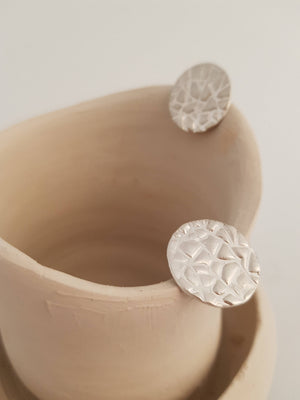 Large circle stud earrings in sterling silver. Big button earrings textured