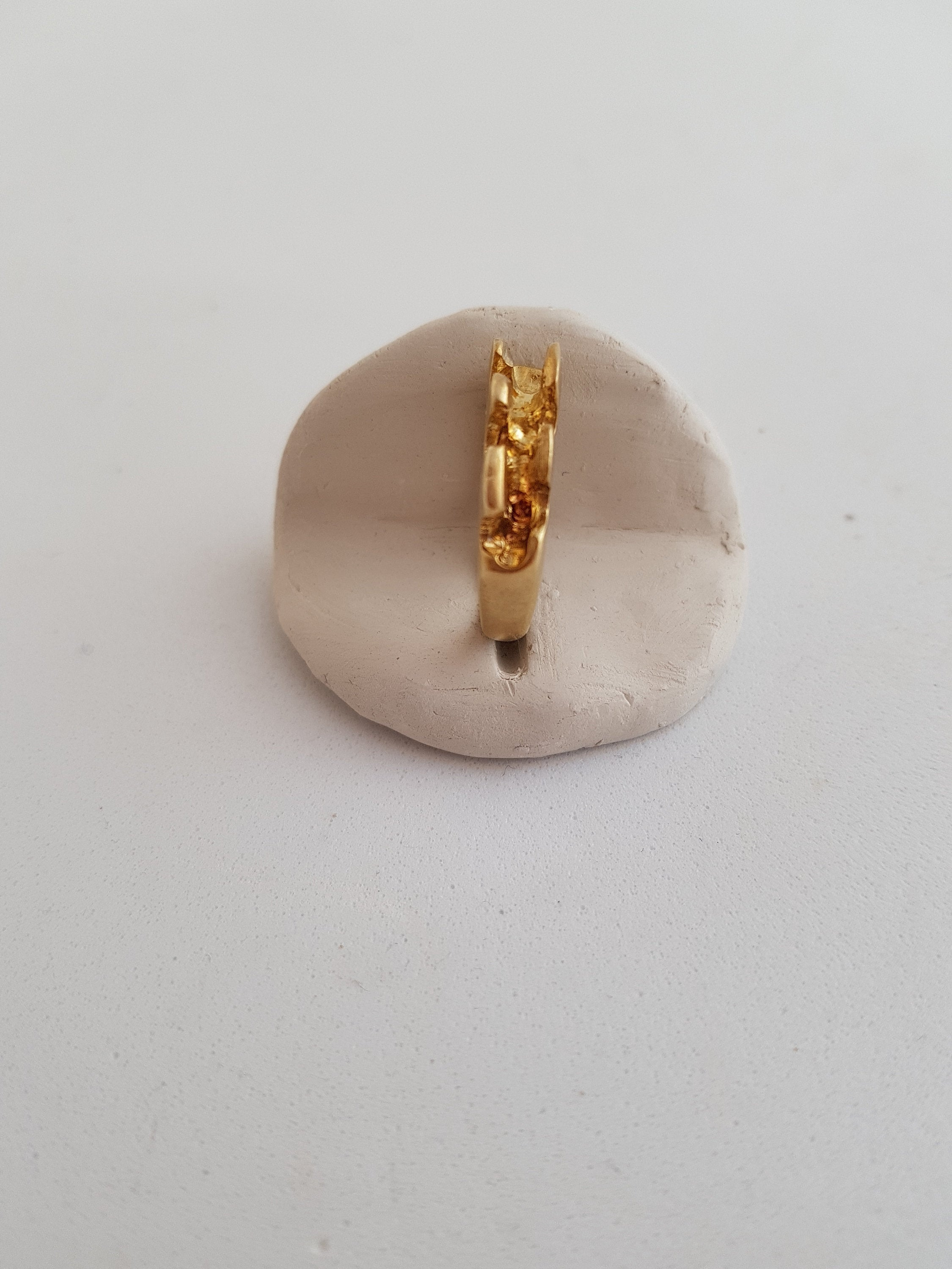 sculpted ring, original design ring, gold plated ring, comfy statement ring, seaweed ring, sculpted ring, double sided ring, false stacking