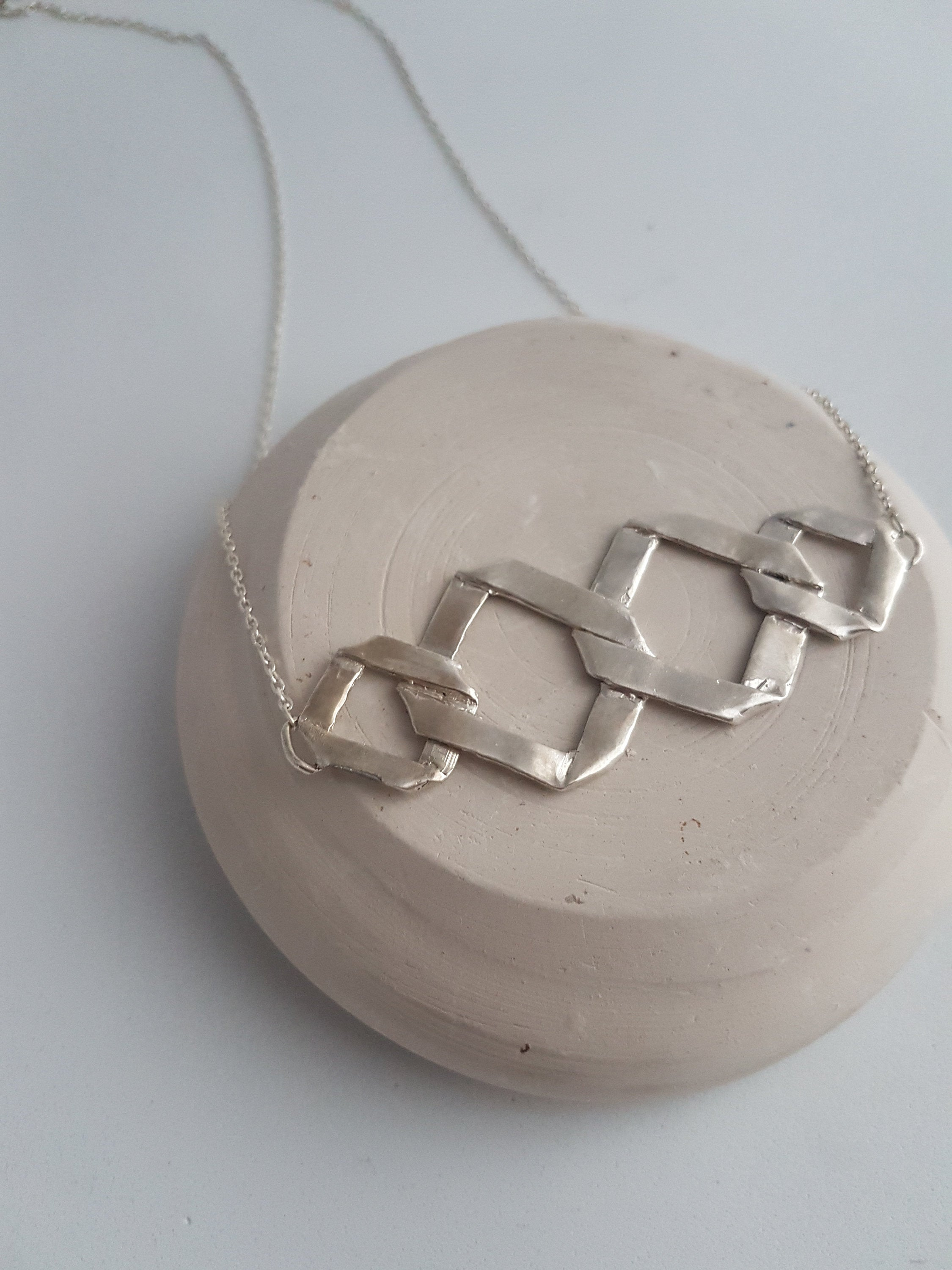Modern rhombus necklace in sterling silver. Statement geometric necklace for a woman gift