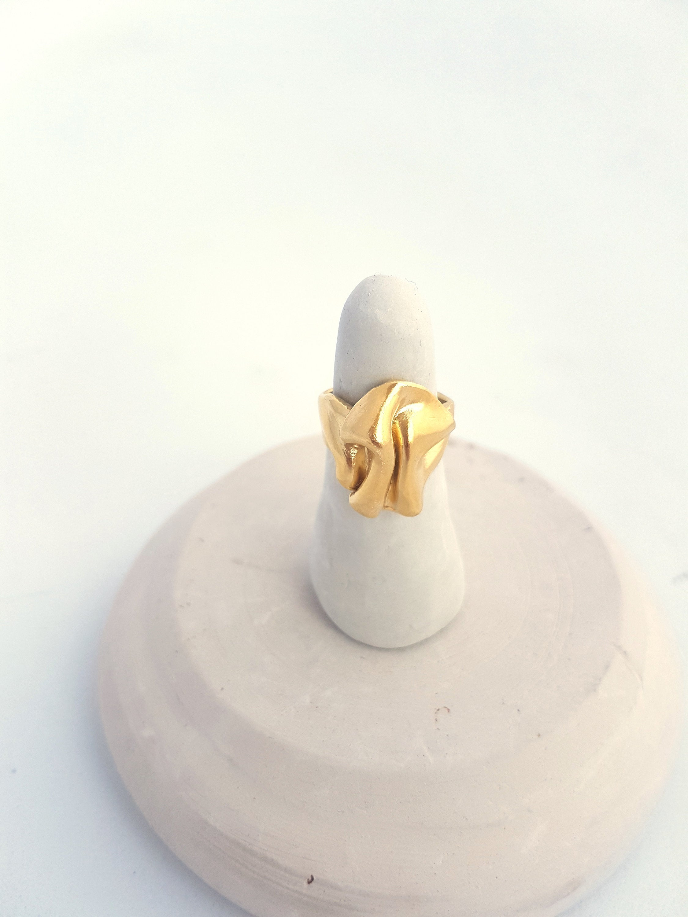 Gold cocktail ring, wave ring with an asymmetrical form- Big statement ring