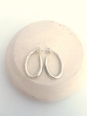 chunky hoops in solid sterling silver, handmade. Big hoops for a contemporary woman