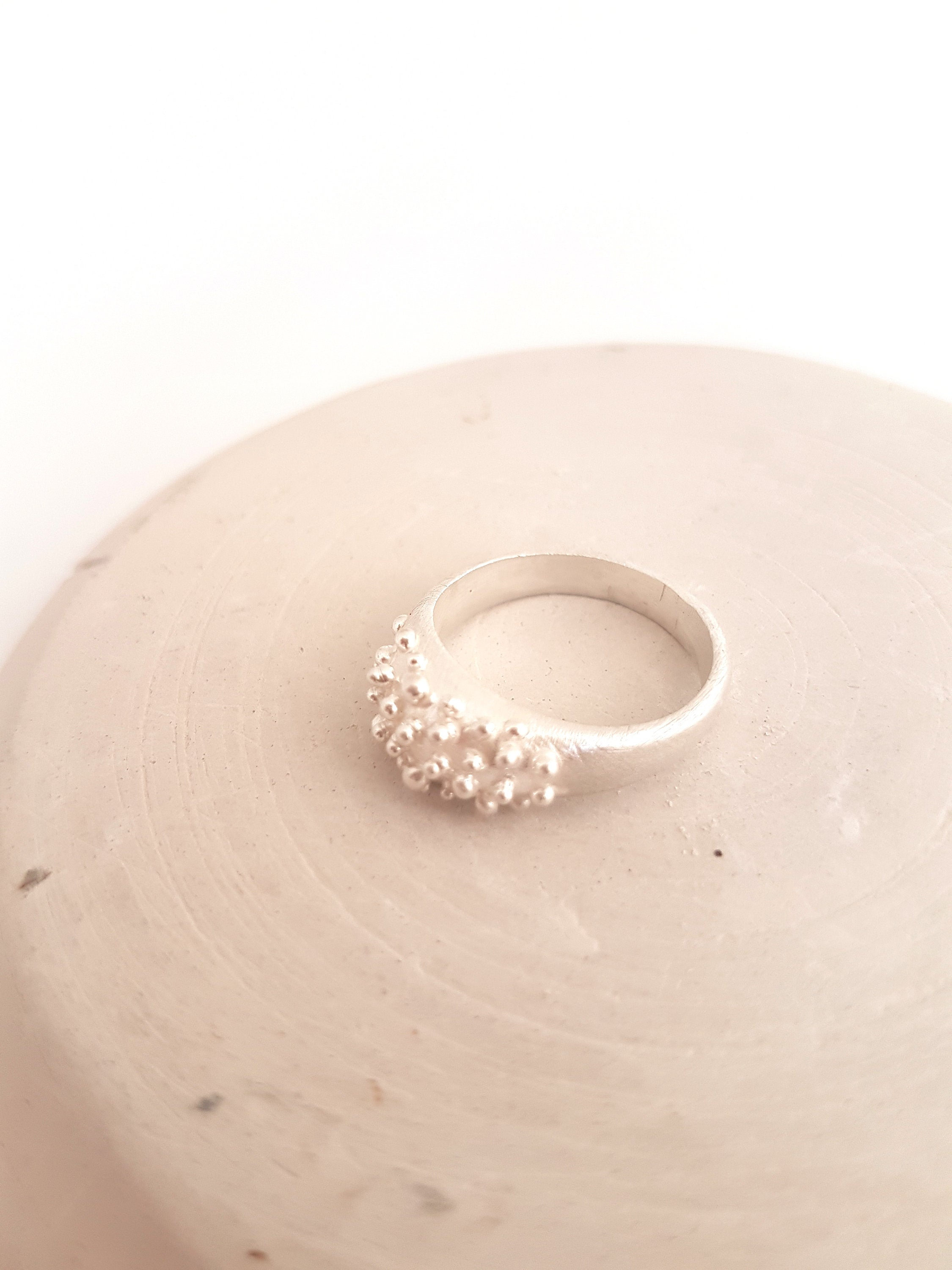 Bubbles ring in sterling silver,  dainty original ring with balls texture