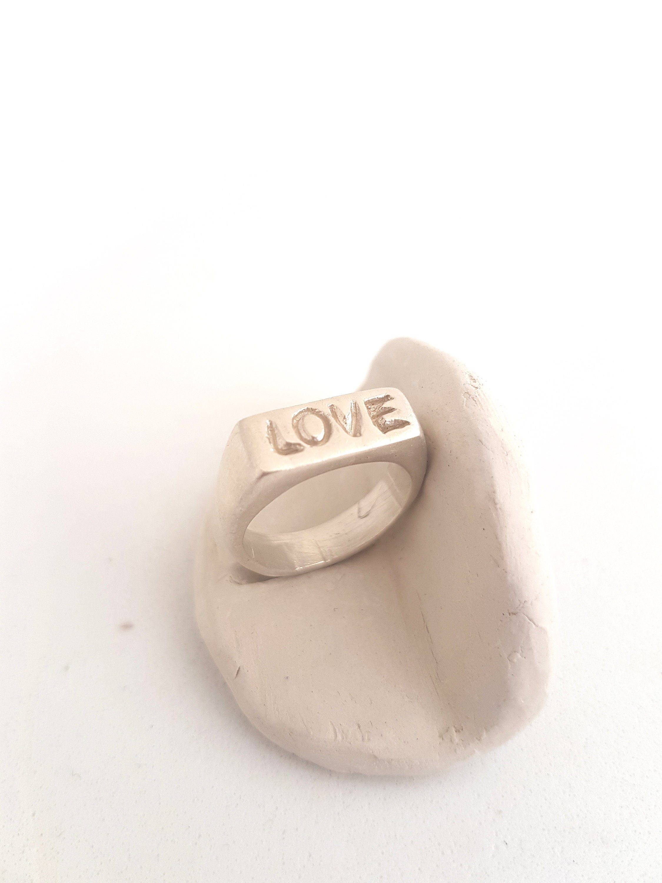 Love signet ring, solid sterling silver signet ring hand sculpted.