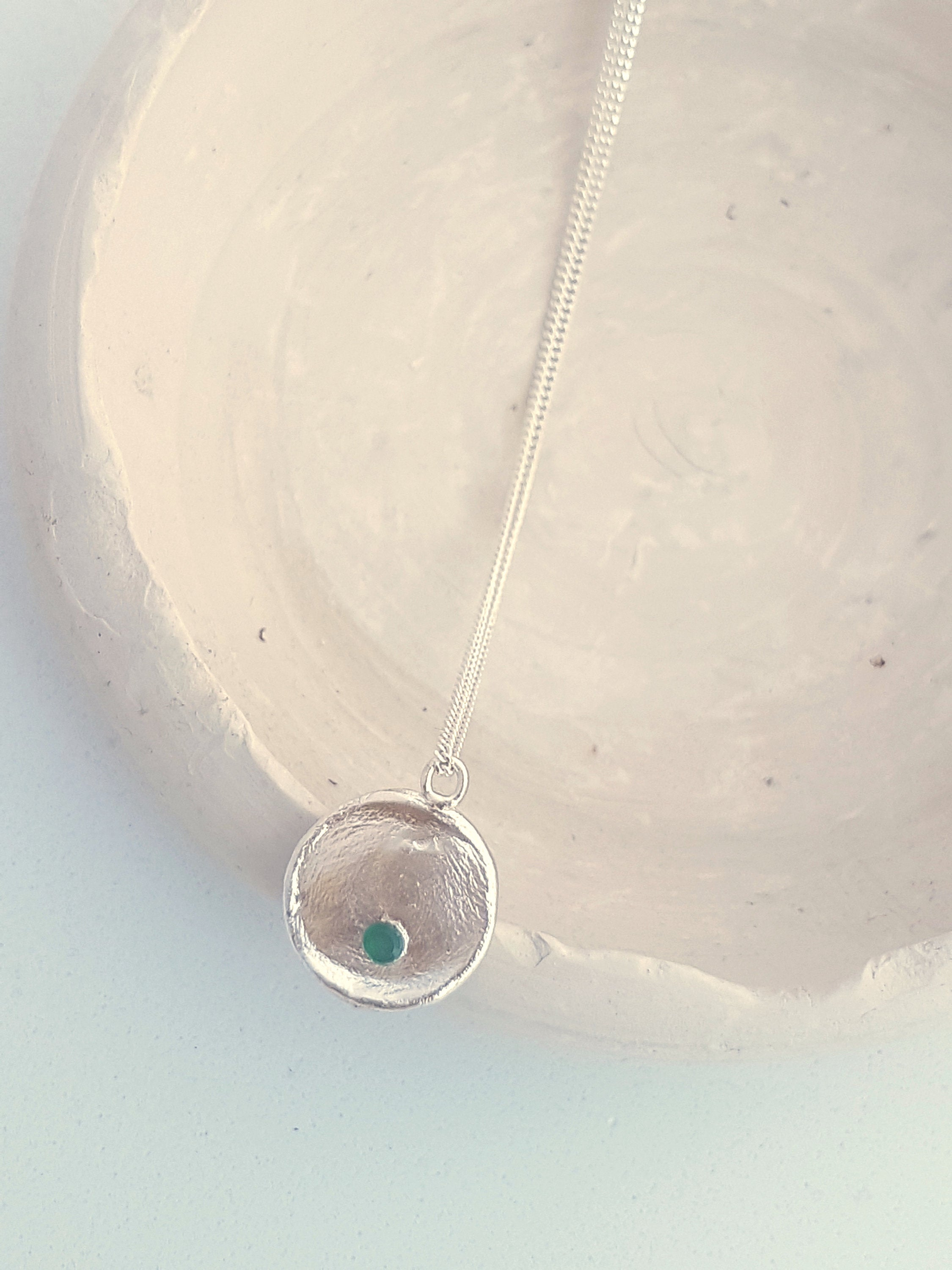 silver disk necklace with tiny emerald - delicate sterling silver layered necklace
