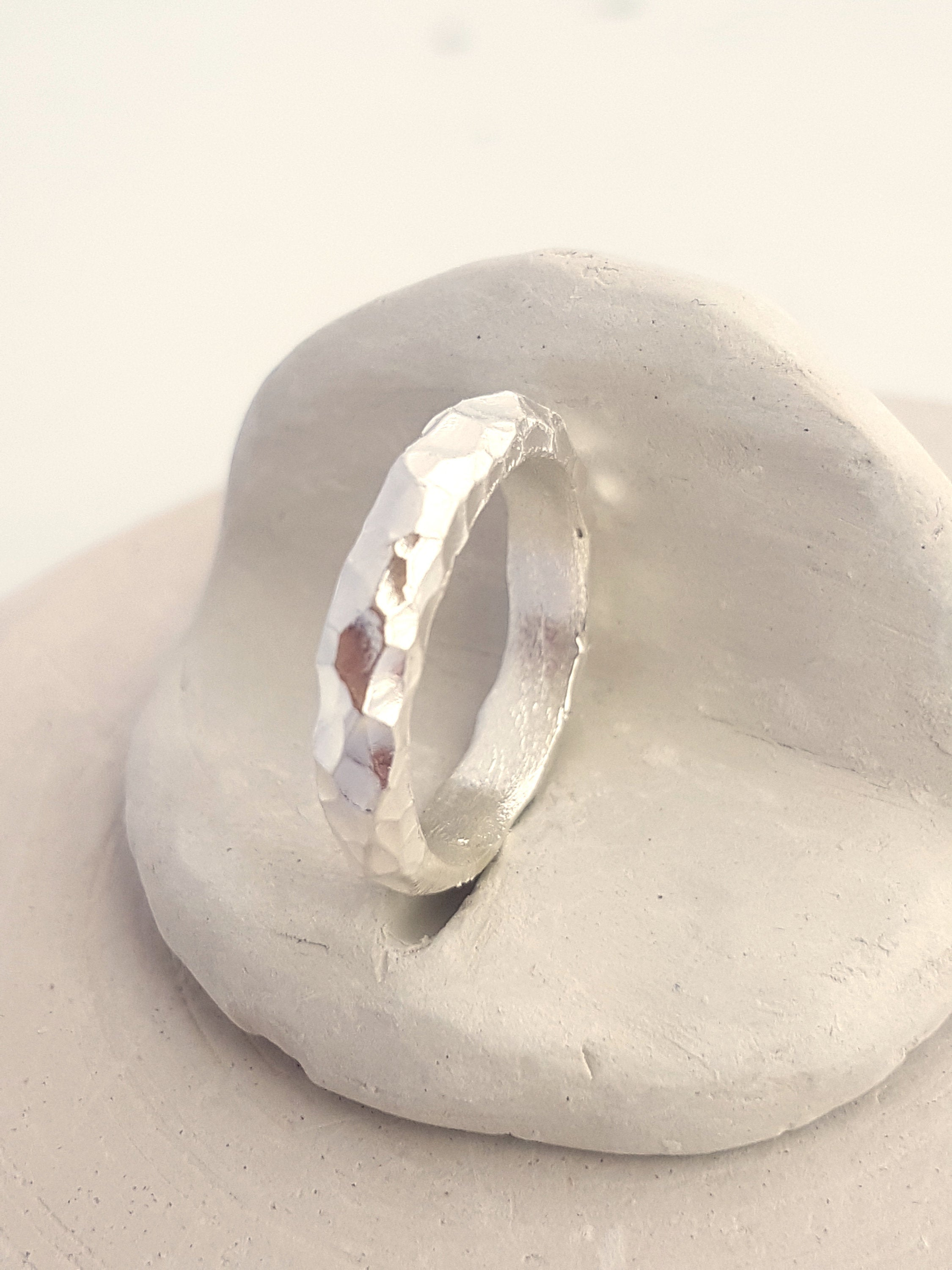 Faceted band ring in Sterling Silver. Alternative Wedding Band, textured.