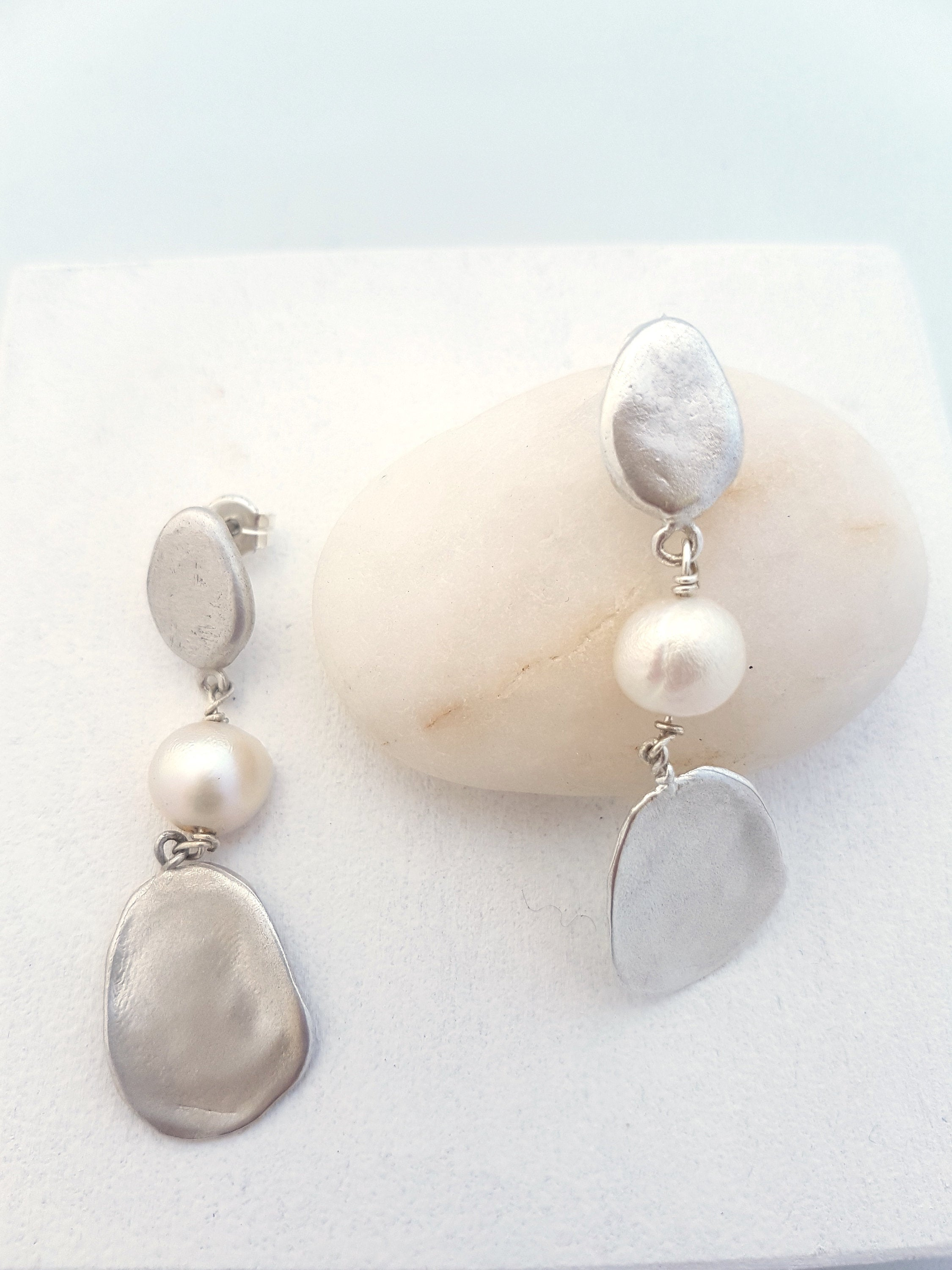 modern pearl earrings in sterling silver - contemporary pearl earrings for her