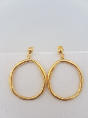 Big gold hoops -  irregular and chunky hoop earrings gold plated