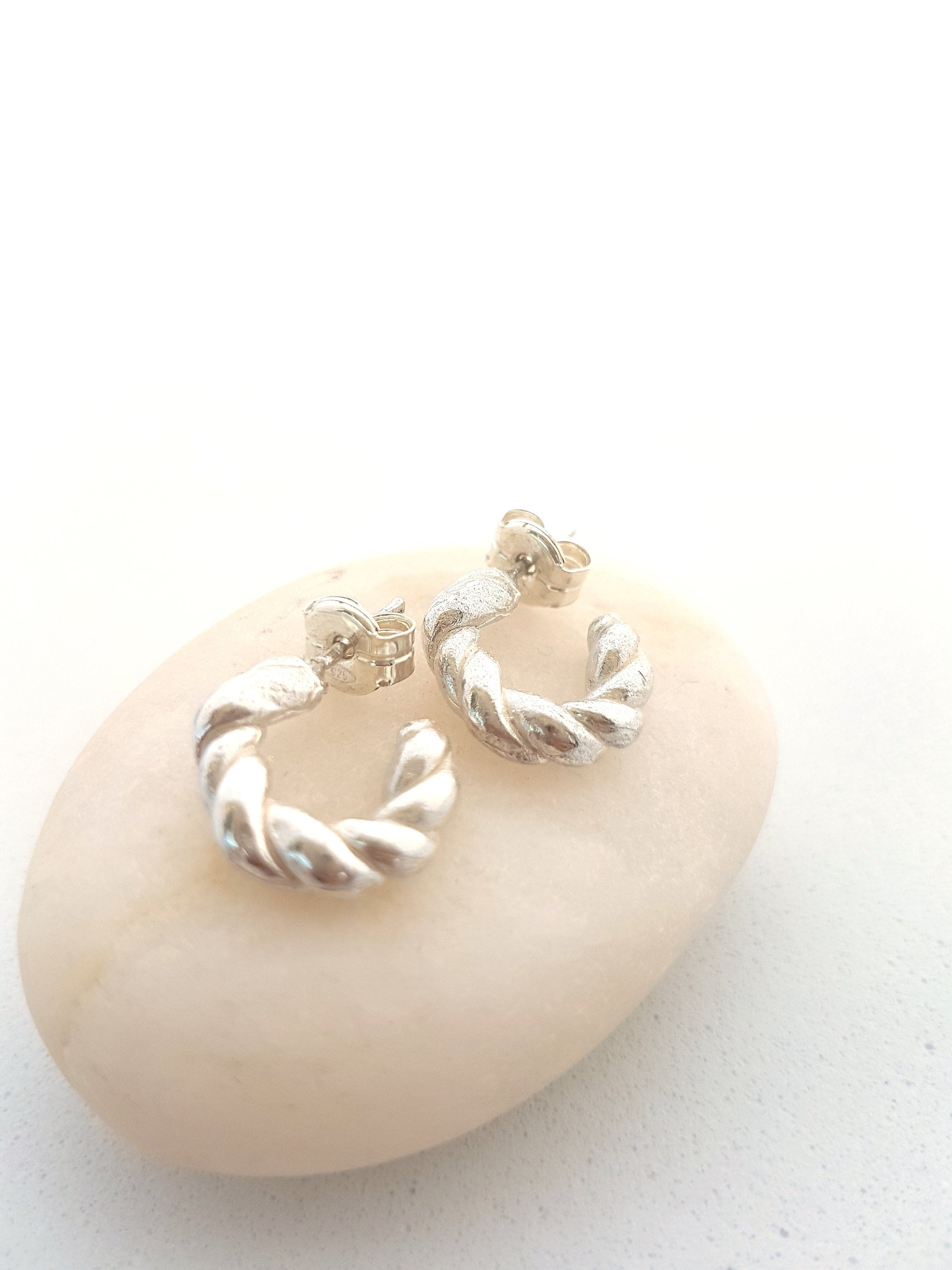 chunky rope hoop earrings in sterling silver, handmade twist hoop earrings for a daily wear