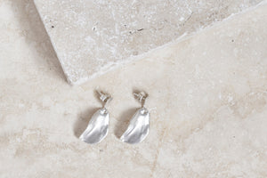 dangle leaf earrings in sterling silver for a bohemian woman- handmade jewelry gift with an organic feel