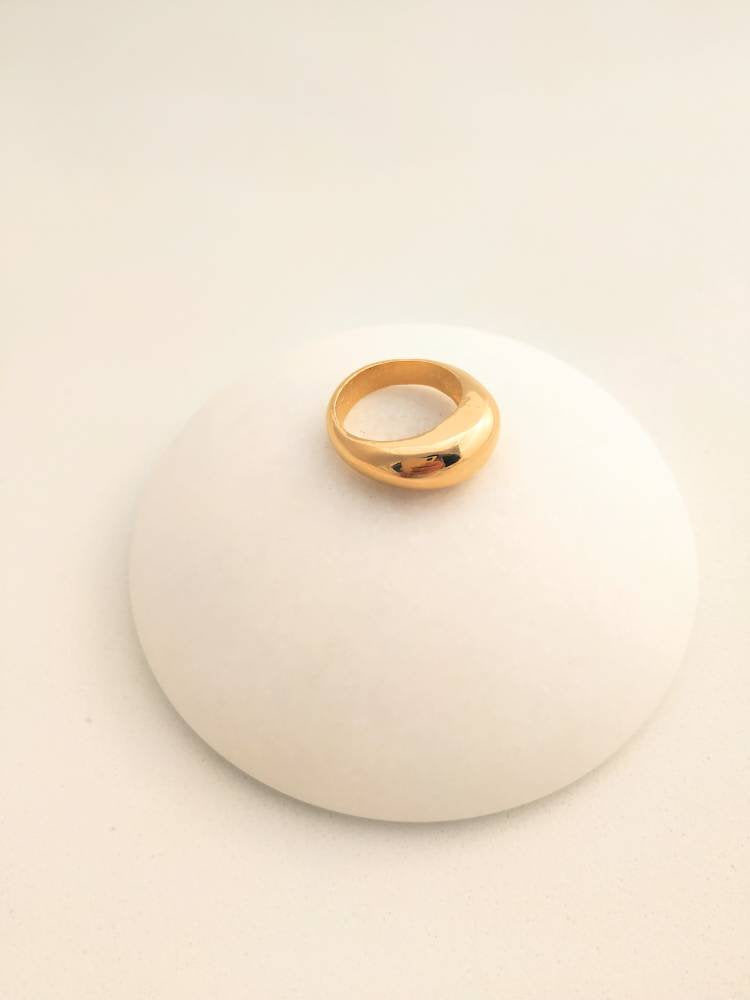 dome ring gold plated, chunky ball ring for modern women