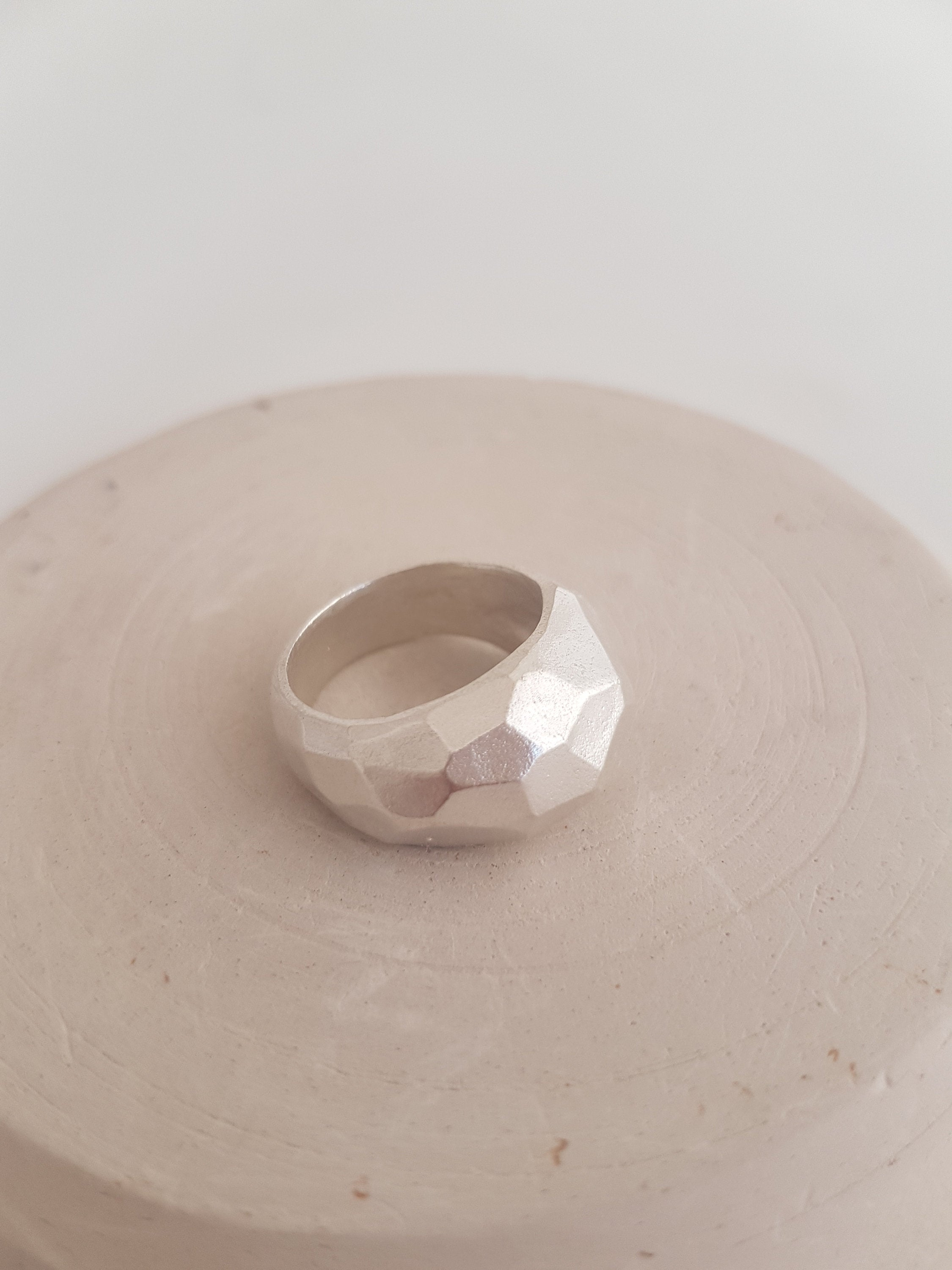 Large facet ring - geometric ring in sterling silver