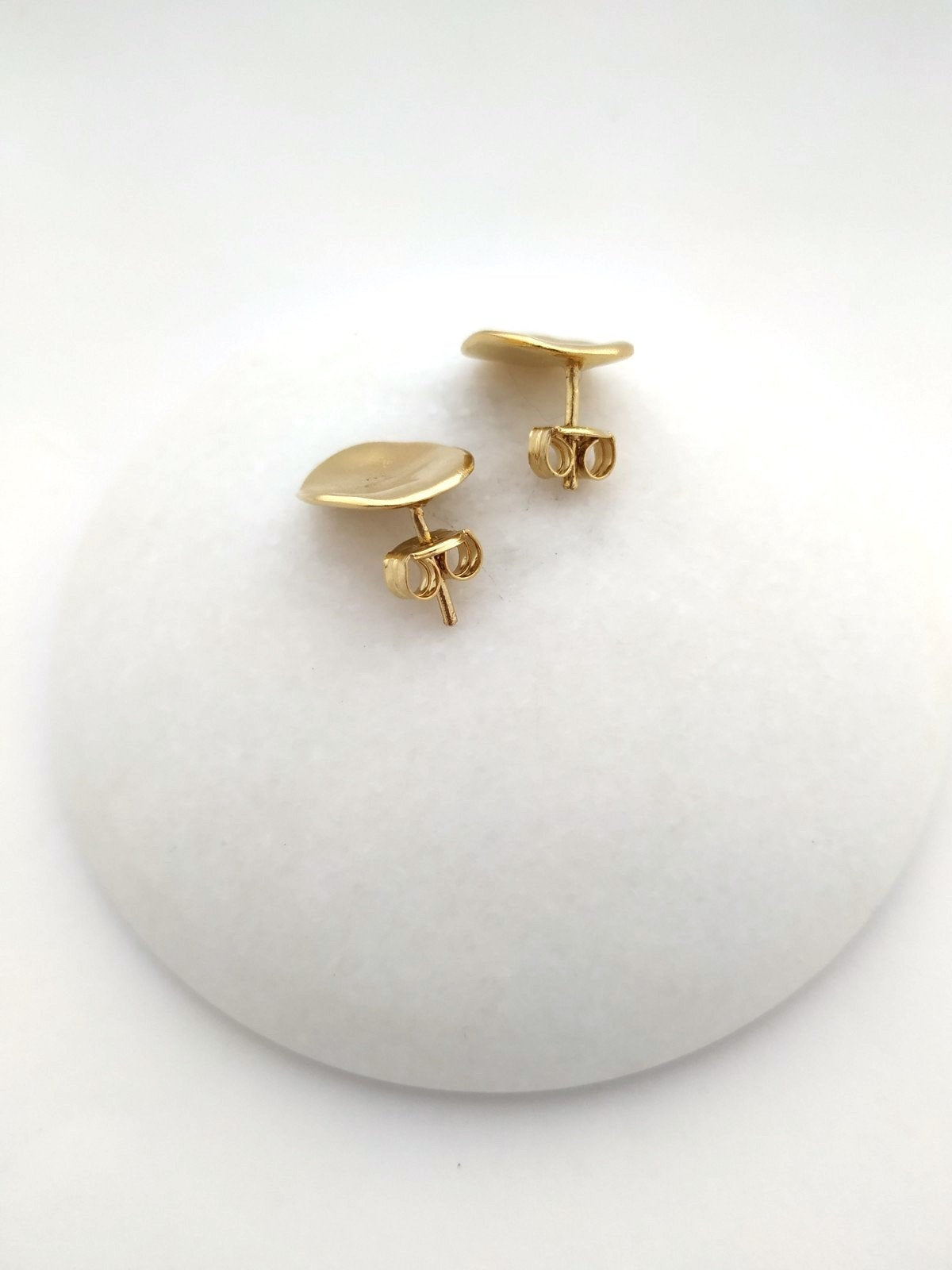 contemporary studs, gold plated - oval stud earrings, gold