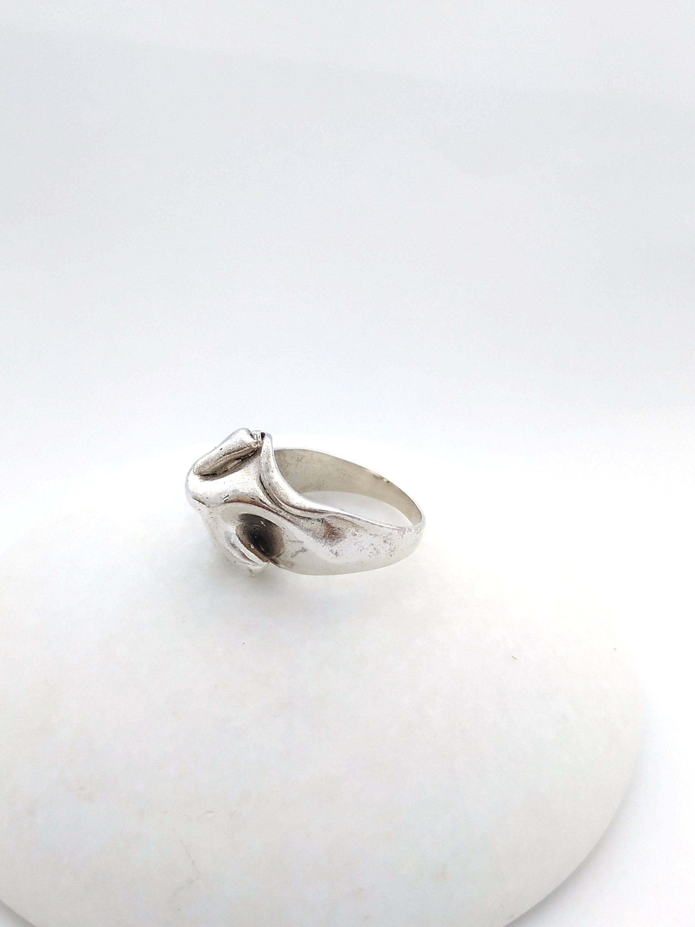 large statement ring in sterling silver, 925 silver cocktail ring
