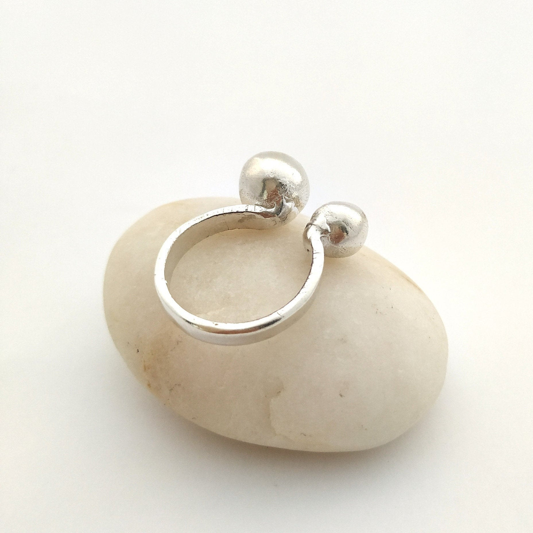 silver ball ring, adjustable silver ring for a contemporary woman