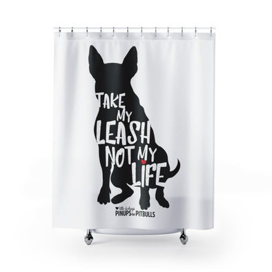 Shower Curtains | Take My Leash, Not My Life - Dog Silhouette