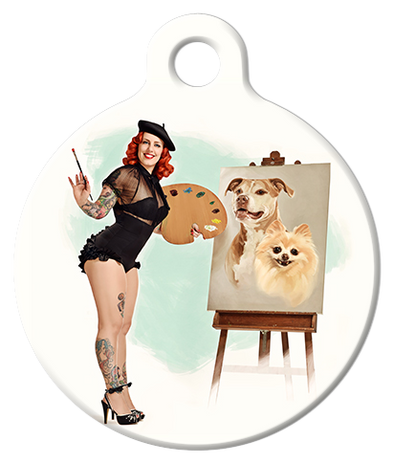 DOG TAG: Watercolor Painter Pinup