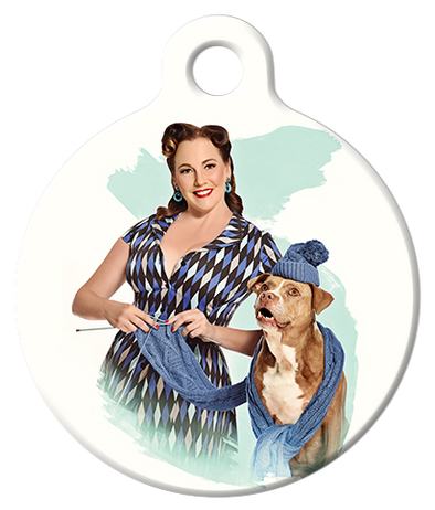 DOG TAG: Naughty Knitter Pinup