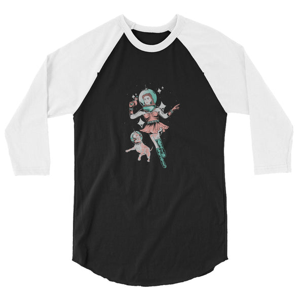 Unisex | Space Dog Fly Away | 3/4 Sleeve Raglan Shirt